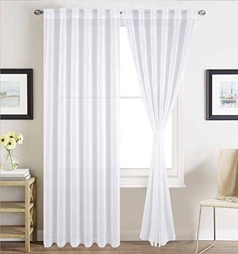 BHU Faux Linen Sheer Curtains for Bedroom, Window Treatment Sheer Curtain Pnaels, Rod Pocket and Back Tab, Set of 2 Panels, W54