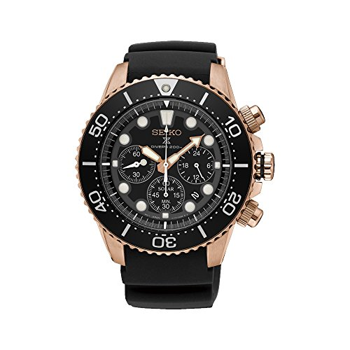 SEIKO Prospex Sea Diver's 200m Chronograph Solar Sports Watch Rose Gold SSC618P1