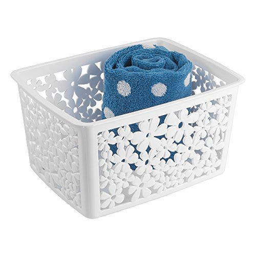 "mDesign Floral Bathroom Vanity Organizer Bin for Health and Beauty Products/Supplies, Towels - 8.5"" x 10.8"" x 14.1"", White"