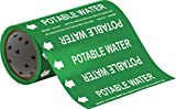 Brady 41472 Roll Form Pipe Markers, B-946, 8'' X 30', White On Green Pressure Sensitive Vinyl, Legend ''Potable Water''
