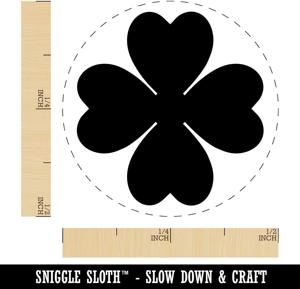Four Leaf Clover Lucky Solid Rubber Stamp for Stamping Crafting Planners 1//2 Inch Mini