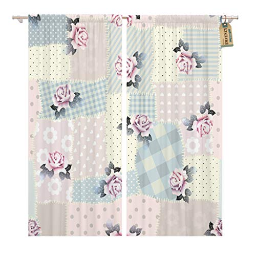 Golee Window Curtain Chic Pattern Retro Patchwork Roses Shabby Clorh Continuity Curve Home Decor Rod Pocket Drapes 2 Panels Curtain 104 x 63 - Shabby Curtains Patchwork
