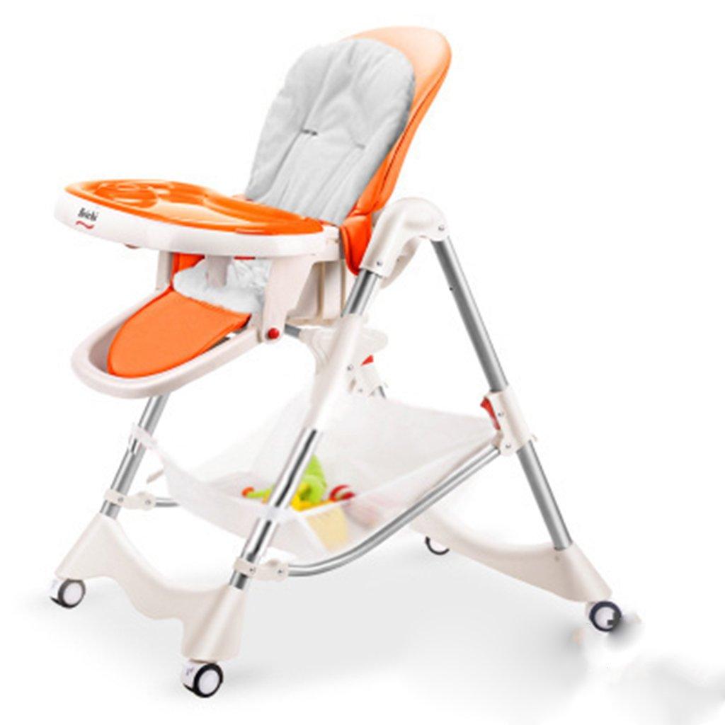 ポータブル赤ちゃん授乳椅子ベルト幼児の安全シートストラップ付き子供椅子ソフト屋外旅行ハイチェアブースタースツールシート (色 : オレンジ) B07DCVGTLKオレンジ