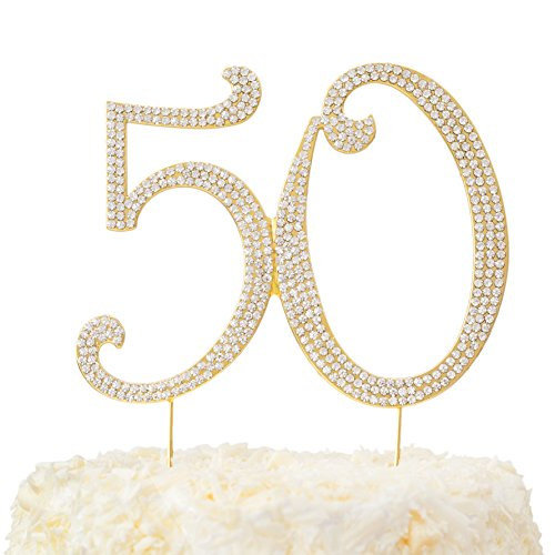 LOVENJOY - Gift Box - 50 Rhinestone Cake Topper for 50th Birthday Anniversary Decoration Gold, 5.7 X 4.5