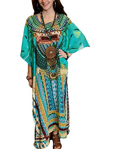 Ethnic Caftan - Bsubseach Women Ethnic Print Kaftan Maxi Dress Batwing Sleeve O Neck Beachwear Long Swimsuit Cover Up