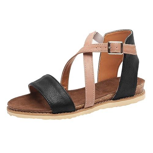 7ecd99349e1 Boomboom Women Sandals Women s Criss Cross Flats Sandals Strap Back Zipper  Gladiator Open Toe Sandals