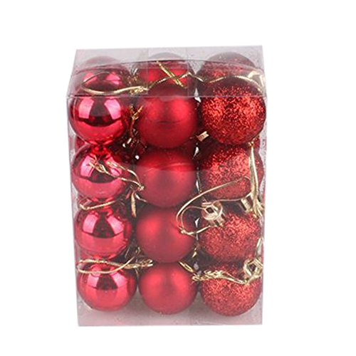 Cuekondy Clearance Sale Christmas Tree Ball Decoration Glittering Shatterproof Christmas Ball Ornaments Hanging Baubles Set for Home Decor Holiday Wedding Xmas Party (Red, 3cm) -
