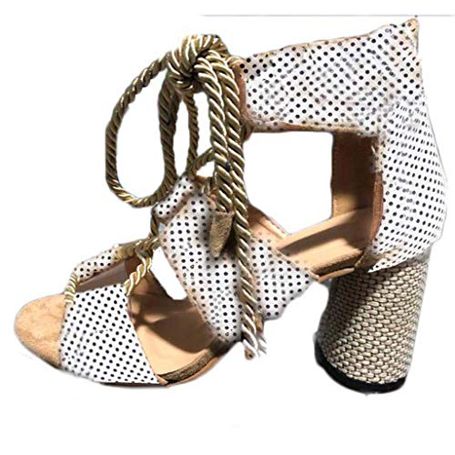 WILLBE Womens Fashion High Heels Shoes Female Summer Hemp Rope Ankle Strap Open Toe Sandals Latin Shoes Boots Shoes White ()
