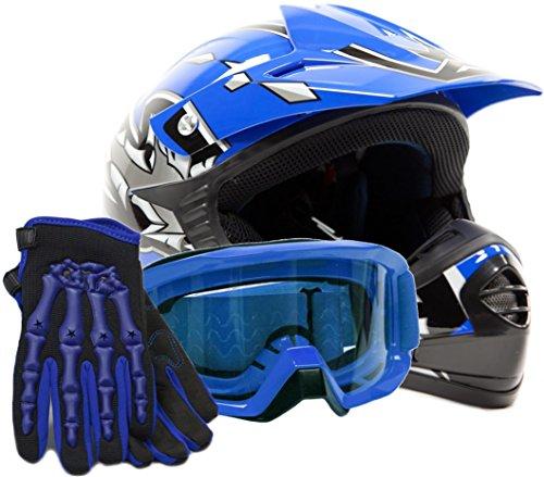 Youth Offroad Gear Combo Helmet Gloves Goggles DOT Motocross ATV Dirt Bike MX Motorcycle Blue, (Dirt Bike Gear Combo)