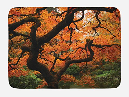 ath Mat, Japanese Maple Trees Deep Dark in the Forest Quite Meditative Environment Photo, Plush Bathroom Decor Mat with Non Slip Backing, 29.5 W X 17.5 W Inches, Orange Brown ()