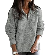 Asvivid 1/4 Zip Sweaters for Women Long Sleeve Stand Collar V Neck Pullover Solid Casual Loose Kn...