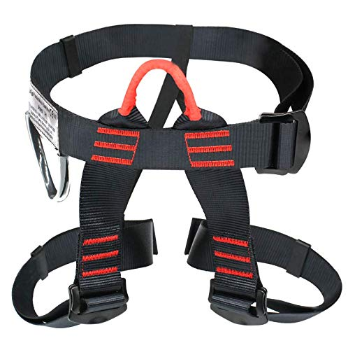 Ationgle Climbing Harness Wider Half Body Harness for Mountaineering Rock, Tree Climbing, Fire Rescuing, Outdoor Training, Caving, Rappelling Equip Protect Waist Safety Harness for Women Men