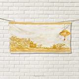 Chaneyhouse Lantern,Travel Towel,Old Paper with Ancient Japanese Buildings Depicted on Asian Retro Style Samurai,Quick-Dry Towels,Pale Yellow Size: W 14'' x L 27.5''