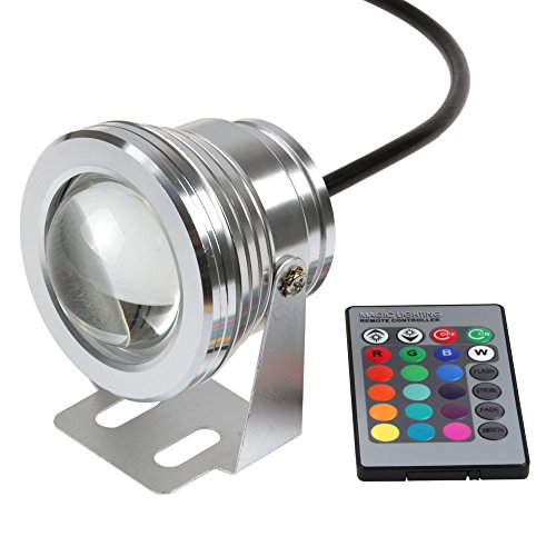 DELED® Silver RGB 10w Dc 12v Convex Lens Integrated Ip68 LED Underwater Spot Light Remote