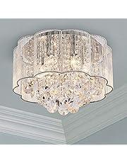 Bestier Moderne Crystal Regendruppel Drum Kroonluchter Schaduw Verlichting Plafond Inbouw LED Lichtpunt Hanglamp voor Eetkamer Badkamer Slaapkamer Woonkamer 6 E14 LED-lampen Vereist