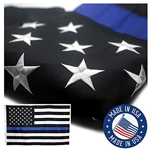 VSVO Thin Blue Line American Police Flag 3x5 ft - Embroidered Stars and Sewn Stripes with Grommets Black White and Blue USA Flags