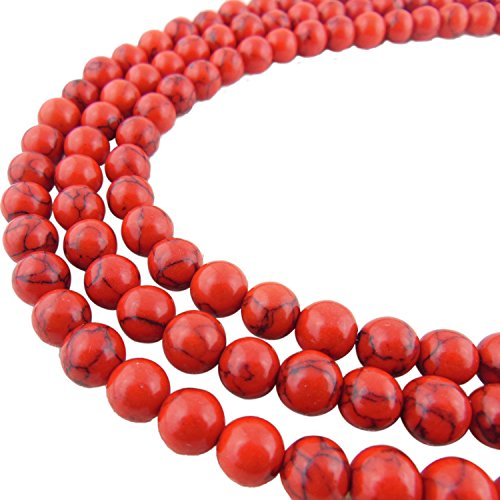 2 Strands 10MM Synthetic Red Turquoise Stone Gem Round Loose Stone Beads for Jewelry Making&DIY&Design (RS-1014-10)