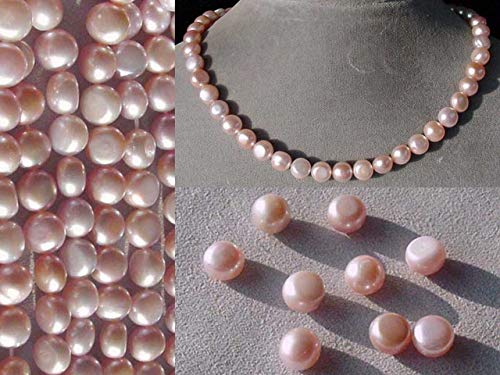 9 Beads for Jewelry Making of Enchanting Natural Pink FW Button Pearls 4475 ()