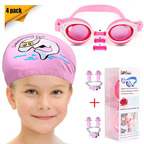 Landisun Kids Swim Goggles Swim Cap Suits with Nose Clip, Ear Plugs, Swimming Goggles Professional for ()