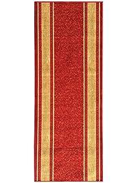 custom size red gold beige bordered rubber backed nonslip hallway stair runner rug carpet