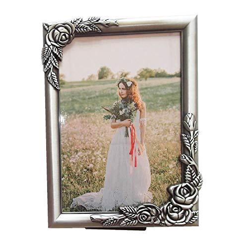 sunrisegifts Metal Emboss Rose Adorned Picture Frame 5x7 inch, Classic Floral Design Vintage Sturdy Alloy Photo Frames (Vintage Pewter) ()