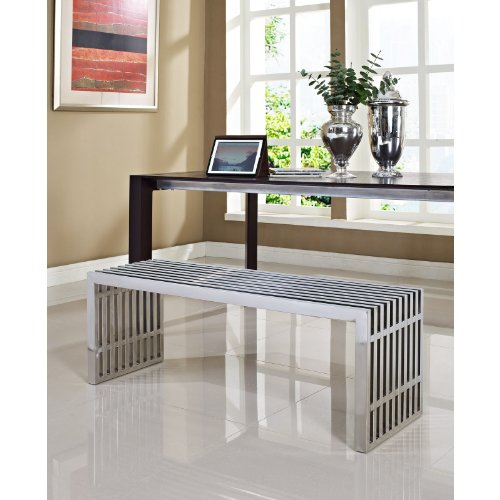 Modway Gridiron Contemporary Modern Large Stainless Steel Bench by Modway (Image #3)'