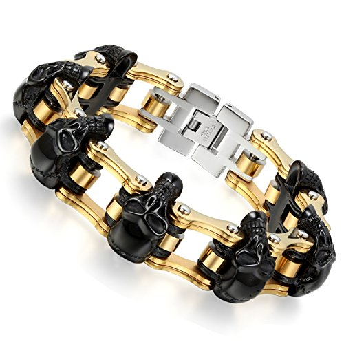 Flongo Stainless Gothic Bicycle Bracelet