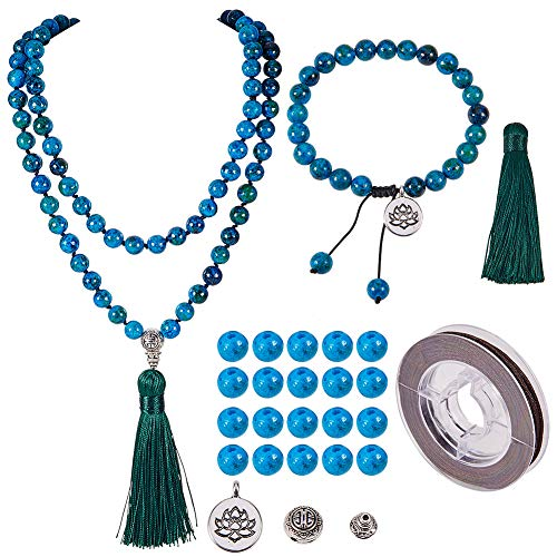 SUNNYCLUE DIY 1 Set 108 Turquoise Gemstone Mala Beads/Buddha Beaded Necklace Jewelry Making Kit - Make 1 Hand Knotted Prayer Tassel Pendant Necklace & 1 Adjustable Mala Wrap Beaded Bracelet