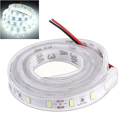 MASUNN 1 M 5630 SMD LED Tira De Silicona Luz Fría Impermeable Blanco 12V