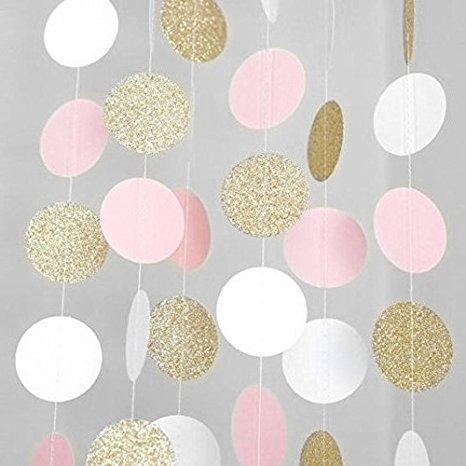 Dolce e Salato festone di carta ciondoli glitter cerchi bianco rosa oro 3mt givi