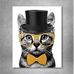 Gold Foil Art Print - Mr. Catsanova Nerdy Gentleman Cat with Gold Foil Bow and Glasses 8x10 inches