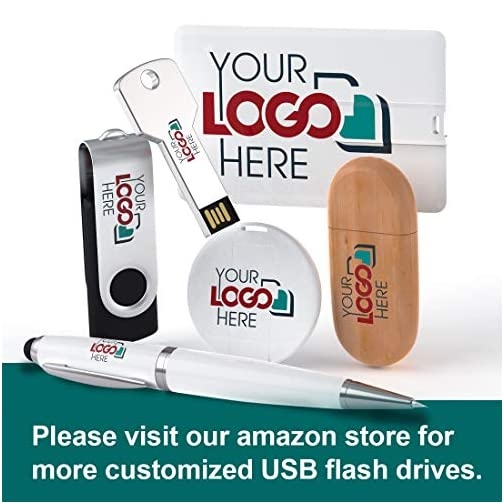 Possibox Custom Swivel USB Flash Drive 32GB Promotional Product Personalized with Your Logo - Bulk USB 3.0… |