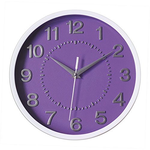 Decor Silent Wall Clock 10 Purple Dial 3D Numbers Non-ticking Decorative Wall Clock Battery Operated Round Easy to Read For School Home Office Hotel