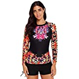 Fainosmny Womens Swimsuits Two Pieces Swimwear Plus Size Swimsuits for Women Floral Bikini Quick-Drying Surf Shorts Tops Black