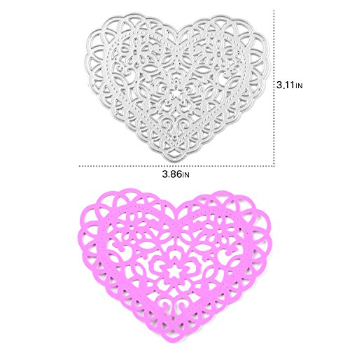 Enipate Heart-Shaped Cutting Dies Carbon Steel Stencil Metal DIY Template (79X98mm (3.11X3.86in))