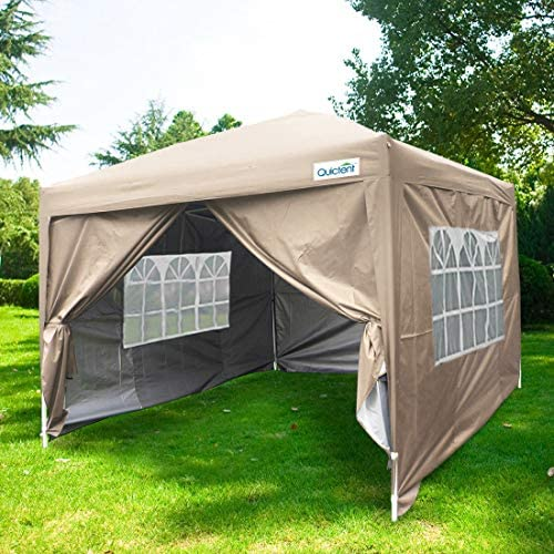 Quictent Silvox 10×10 EZ Pop Up Canopy Party Tent Instant Gazebo Waterproof with 4 Sides Roller Bag -8 Colors