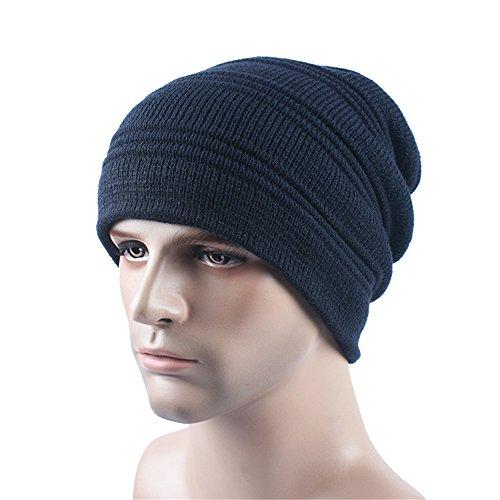 BaronHong caliente Cap Beanie oscuro azul Skully Deportes terciopelo unisex sombrero Outdor Slouchy q1TqCAaBw
