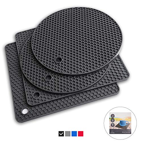 Black Silicone Trivet Mats | Hot Pot Holders | Drying Mat Kitchen Tool 7 in 1 potholder is Heat Resistant to 440°F, Non-slip,durable, flexible easy to wash and dry and Contains 4 potholder by Q