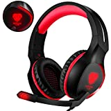 Cheap BUTFULAKE Gaming Headset for Xbox One PS4 PC Games, 3.5mm Wired Over Ear Headphones with Mic Noise Isolation/ LED Light/ Bass Surround Stereo/ One Key Mic Mute for Laptop Nintedo Switch (Red)