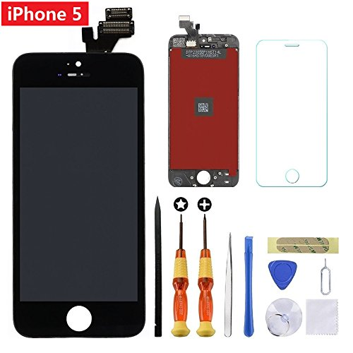 (for Black iPhone 5 4.0 inch Screen Replacement Retian LCD Touch Screen Digitizer Fram Assembly Full Set with Tempered Glass Screen Protector + Tools + Instructions by Brinonac)