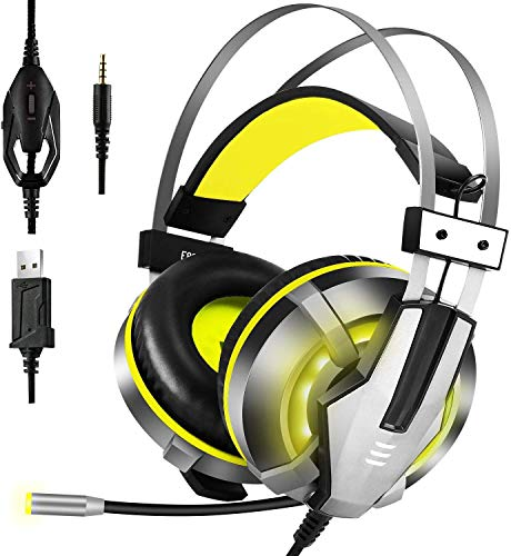 EKSA Stereo Gaming Headset for PS4, PC, Xbox One Controller, Noise Cancelling Over Ear Headphones with Mic, LED Light, Bass Surround, Soft Memory Earmuffs for Laptop Mac Nintendo Switch Games (Yellow)