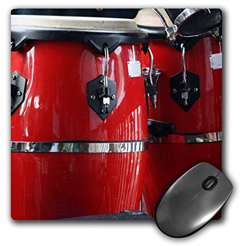 3dRose 8 x 8 x 0.25 Inches Red Conga Drums Mouse Pad (mp_156307_1)