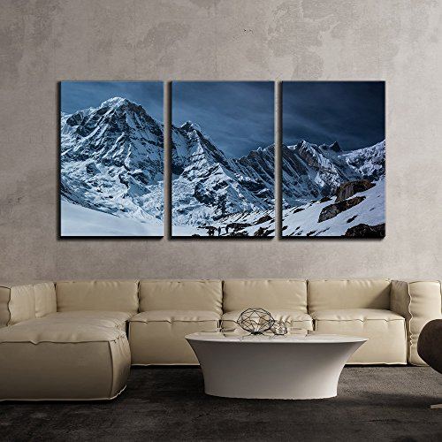 Landscape of Snow Covered Mountains and Travellers x3 Panels