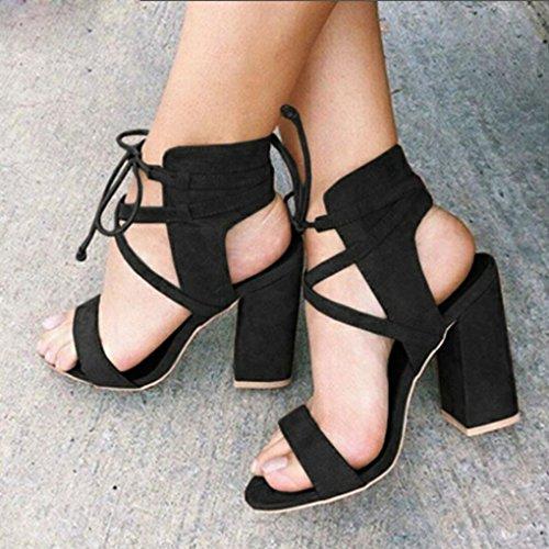 Longra Damen High Heels Sandaletten mit Schnürung Schwarz Sandaletten Damen Sommer Plateauschuhe mit Absatz Gladiator Sandalen Stiefeletten Schuh Frauen Elegante Riemchensandalen Black
