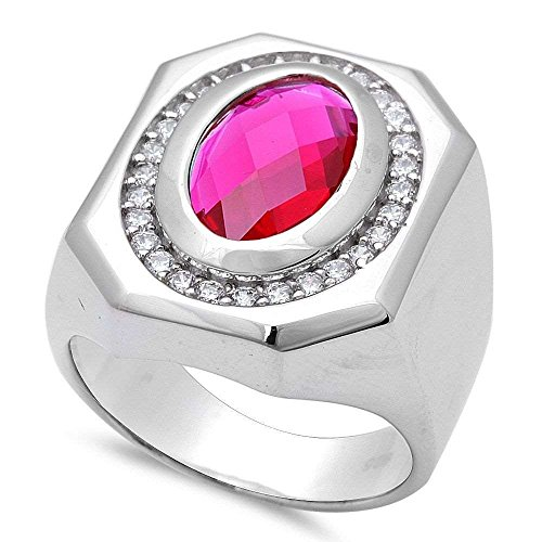 Men's Hot Simulated Ruby .925 Sterling Silver Ring Sizes - Ruby Mens Simulated Sterling Silver