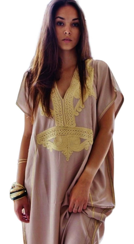 Nuevo hecho a mano mujer caftán Resort Wear Cover-Up Fashion Beige con oro Marrakech algodón caftan