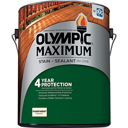 Olympic Stain 56502 Maximum Wood Stain and Sealer, 1 Gallon, Transparent Stain, Honey Gold (Best Temperature To Stain Deck)