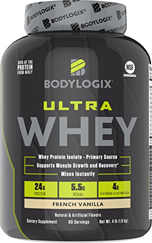Bodylogix Ultra Whey NSF Certified Protein Powder, French Vanilla, 4 Pounds