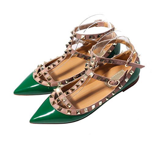 katypeny Womens Sexy Stud Buckle Shallow Mouth Pointed Toe Flat Pump Shoes Green Patent Leather 8 M US