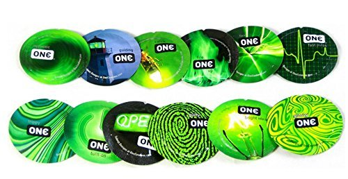 ONE Glowing Pleasures Glow In The Dark Lubricated Latex Condoms Bulk [A New Experience with Your Partner] - 12 Latex Condoms